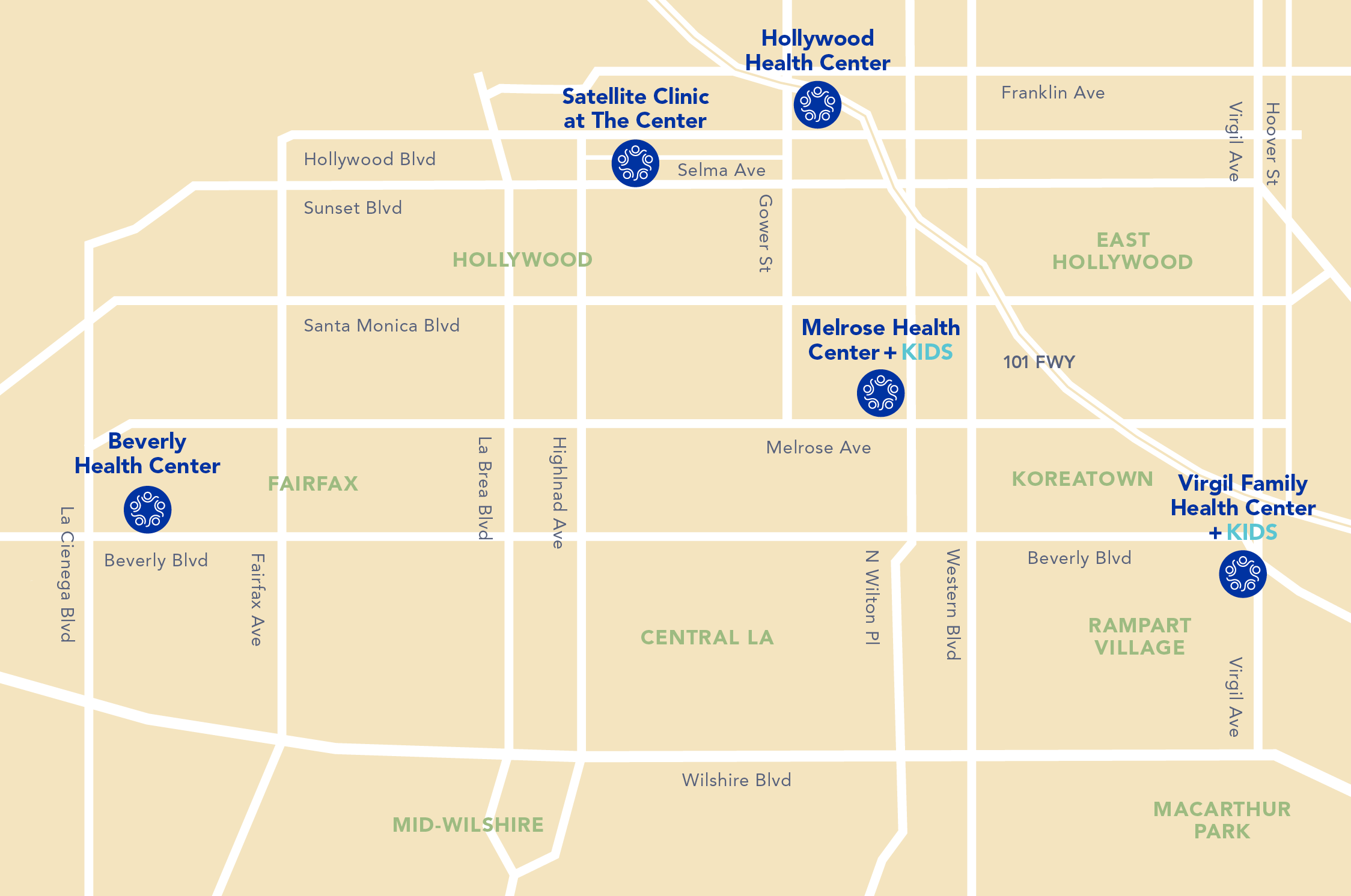 Saban Community Clinic has 5 locations in Los Angeles.
